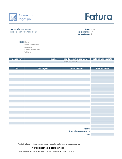 Fatura de serviços (design Azul Simples)