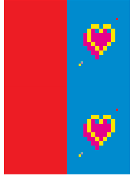Cartão de Dia dos Namorados Coração de pixels