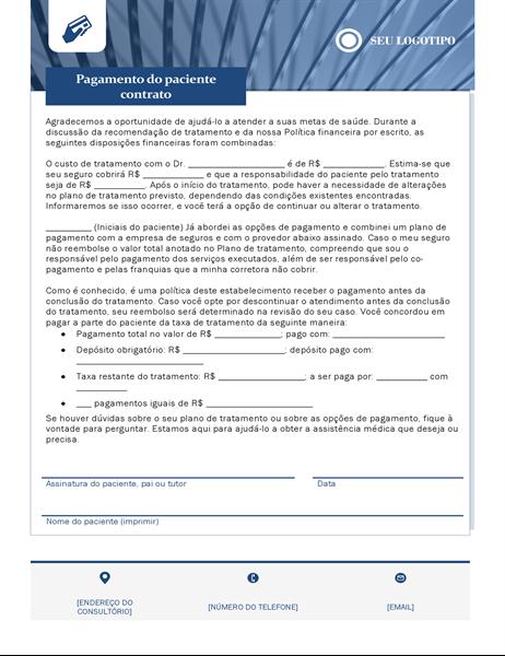 Acordo de pagamento de assistência médica do paciente