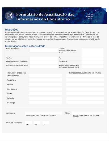 Formulário de atualização da clínica de assistência médica