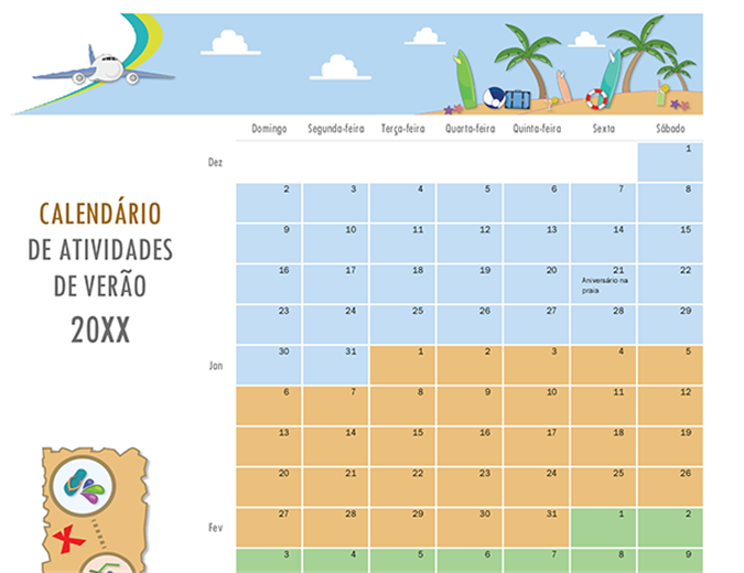 Calendário de atividades de verão