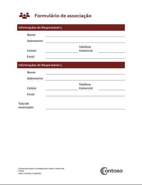 Formulário de associação
