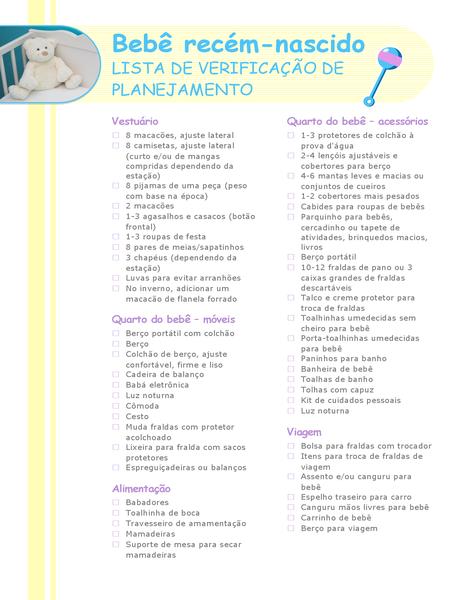 Lista de verificação de planejamento para recém-nascido