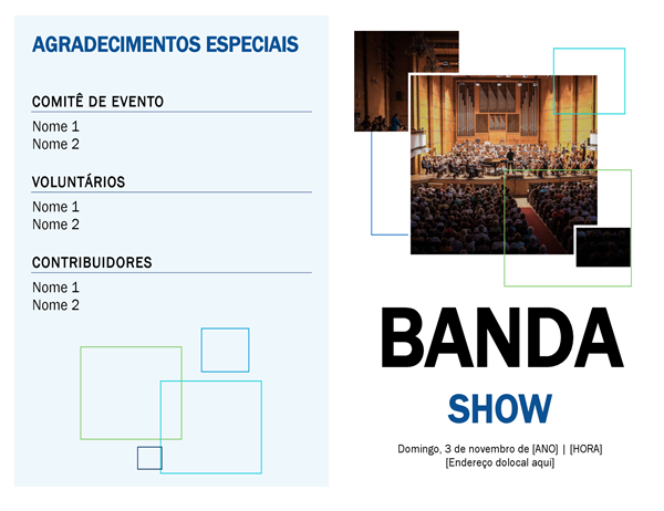 Programa de show da banda