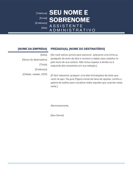 Carta de apresentação moderna e organizada