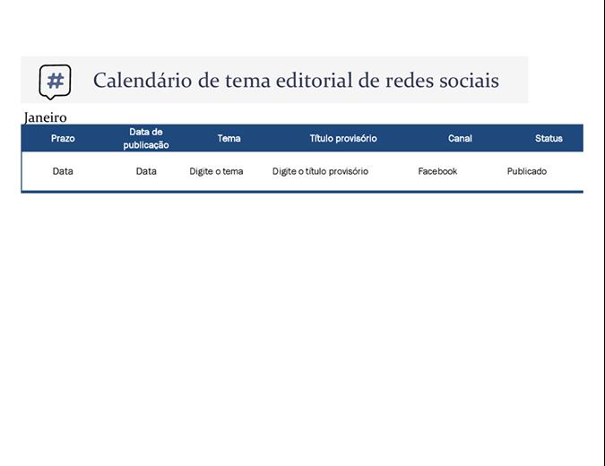 Calendário de tema editorial de mídia social