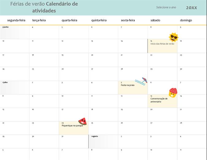 Calendário férias de verão