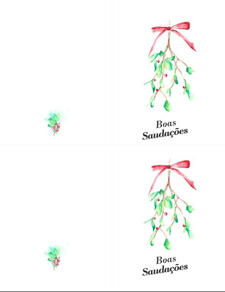 Cartão de boas festas com azevinhos