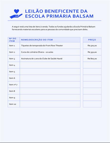 Lista de preços do evento de arrecadação de fundos