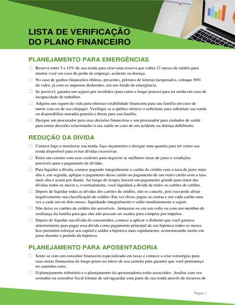 Lista de verificação de plano financeiro