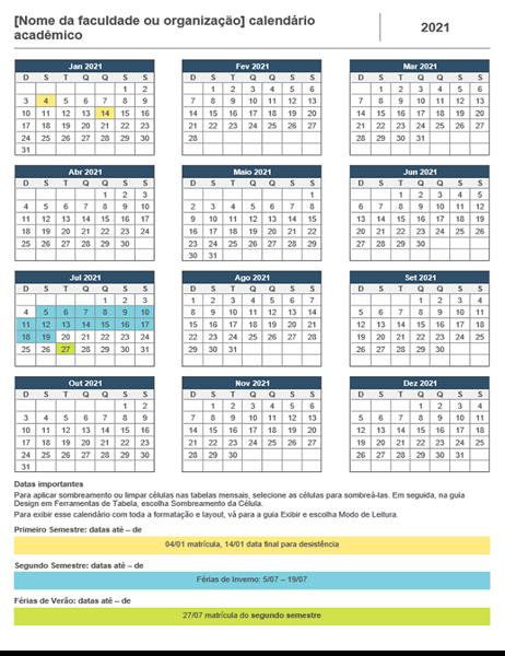 Calendário do ano acadêmico