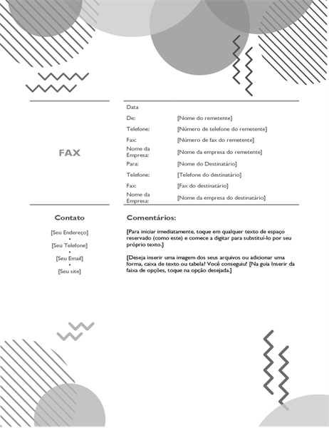 Folha de rosto de fax dos anos 80 B&W