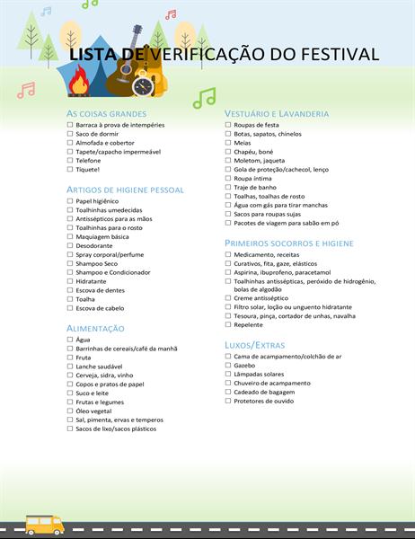 Lista do que levar para o festival