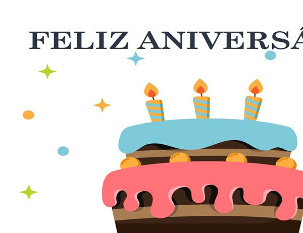 Cartão de aniversário com bolo grande