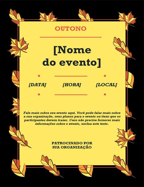 Panfleto de evento com folhas de outono
