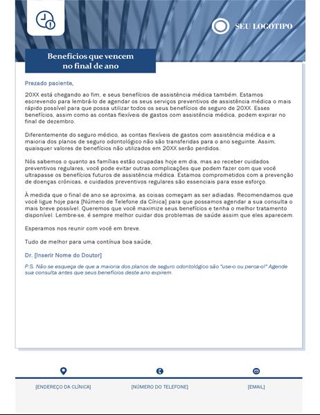 Carta de expiração dos benefícios de saúde