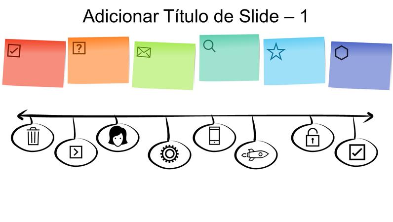 Linha do tempo com elemento gráfico de Notas Autoadesivas