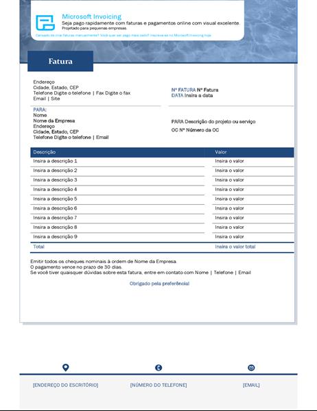 Fatura de serviço com o Microsoft Invoicing
