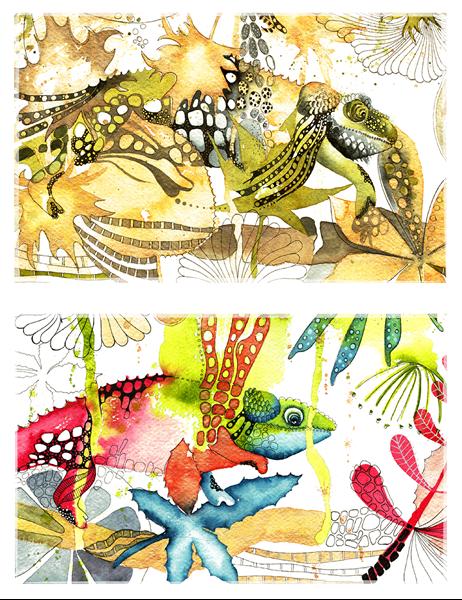 Cartões de saudação de camaleão (dobra simples)