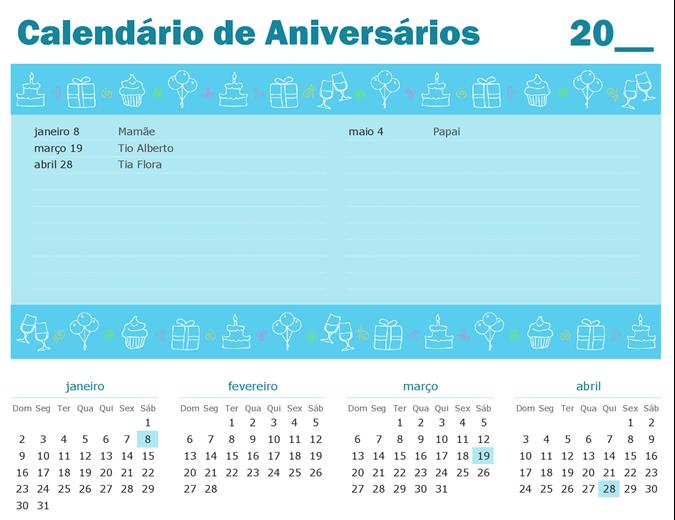 Calendário de aniversário com realce