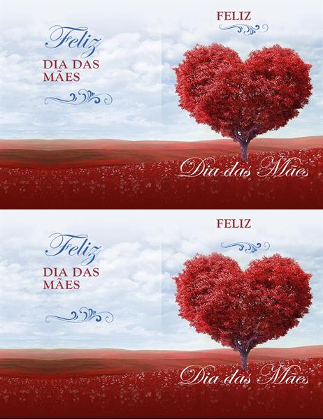 Cartão de dia das mães com árvore de corações