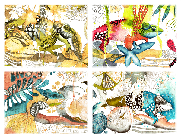 Cartões de visita camaleão (dobra em quatro partes)