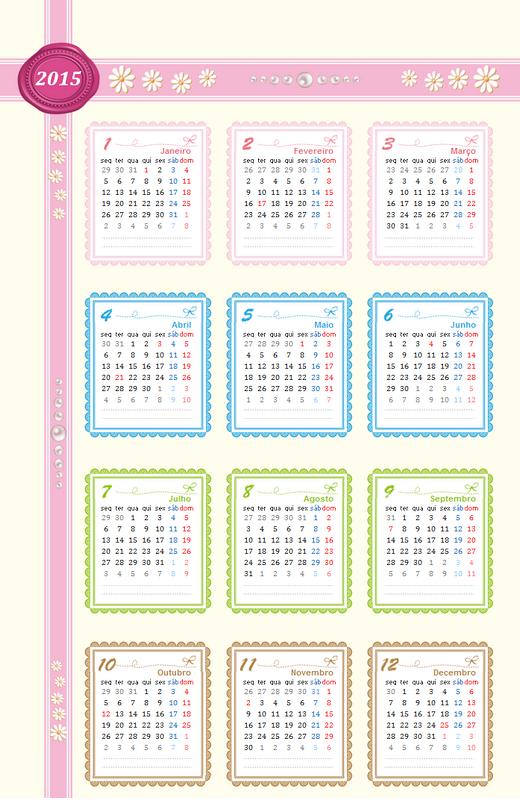 Calendário de 2015 com visão geral (seg - dom)