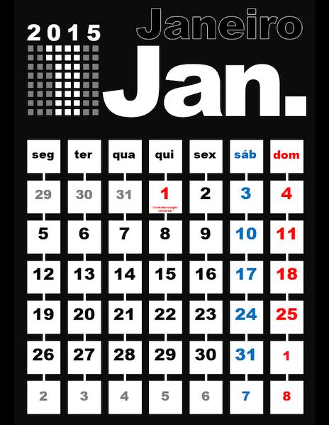 Calendário de 2015 mensal com feriados (seg - dom)