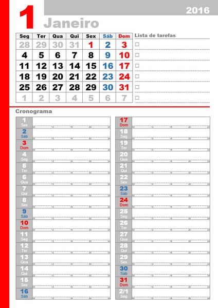 Calendário mensal de 2016