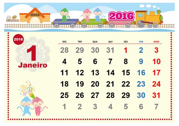 Calendário mensal ilustrado de 2016  (Seg - Dom) - Belas figuras
