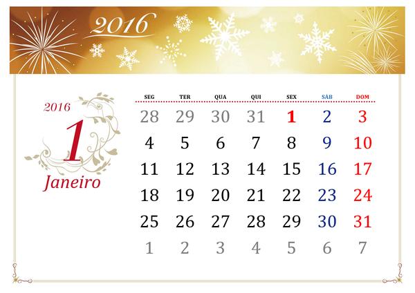 Calendário mensal ilustrado de 2016  (Seg - Dom) - Figuras Elegantes