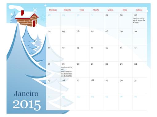 Calendário sazonal ilustrado de 2015 (seg-dom)