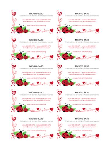 Cartões de visita (joaninhas e corações, centralizados, 10 por folha)