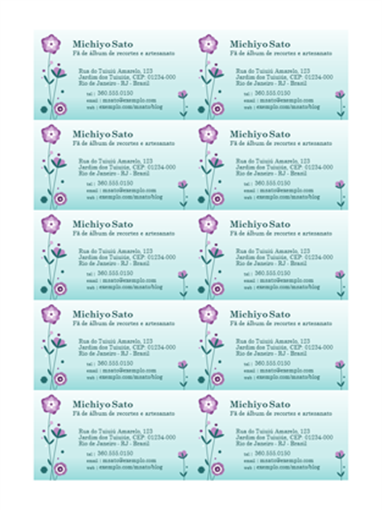 Cartões de visita (ilustração com flor, 10 por folha)