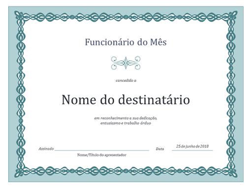 Certificado de funcionário do mês (design de corrente azul)