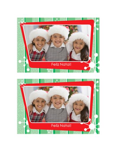Cartão de foto de Natal (listras verdes, moldura de foto vermelha)