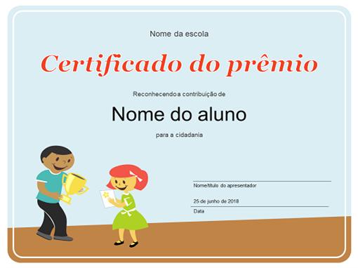 Certificado do Prêmio (Alunos do ensino fundamental)