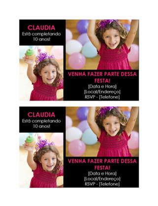 Cartão de convite para festa de aniversário