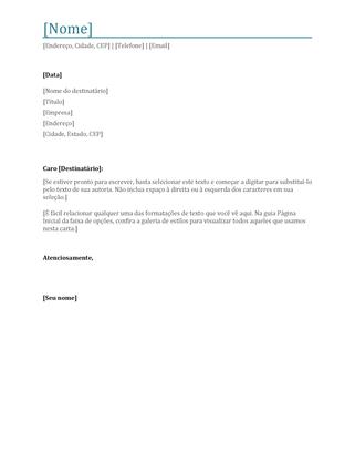 Carta de apresentação de currículo