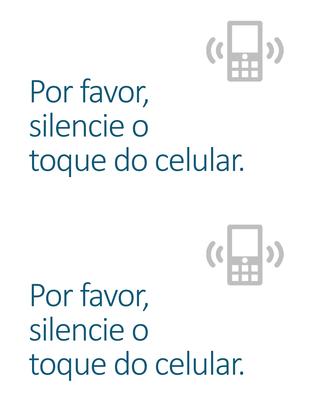 Cartaz lembrete para desligar o celular