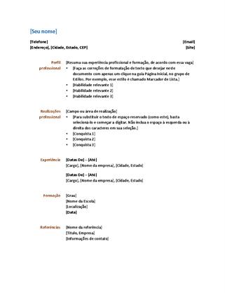 modelo currículo