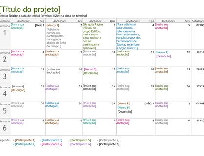 Linha do tempo de planejamento de projetos