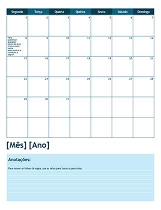 Calendário acadêmico de um mês (início na segunda-feira)