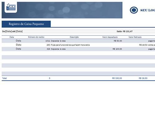 Registro de fundo fixo de caixa de pequena empresa