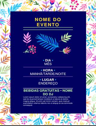 Panfleto de evento com floral brilhante