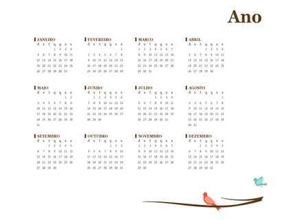 Calendário anual de 2018 (domingo – sábado)