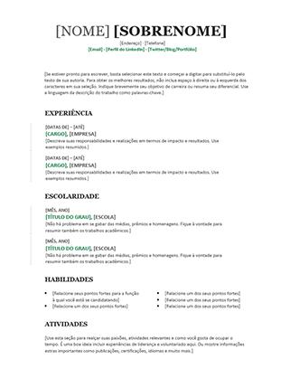 Currículo cronológico (Design moderno)