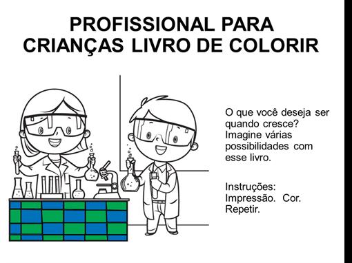 Livro para colorir infantil de profissões