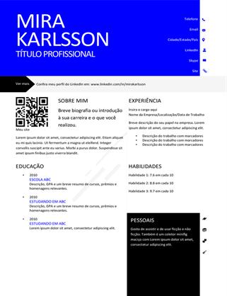 Currículo moderno com código QR