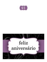 Cartão de aniversário (design com faixa lilás, dobrado ao meio)